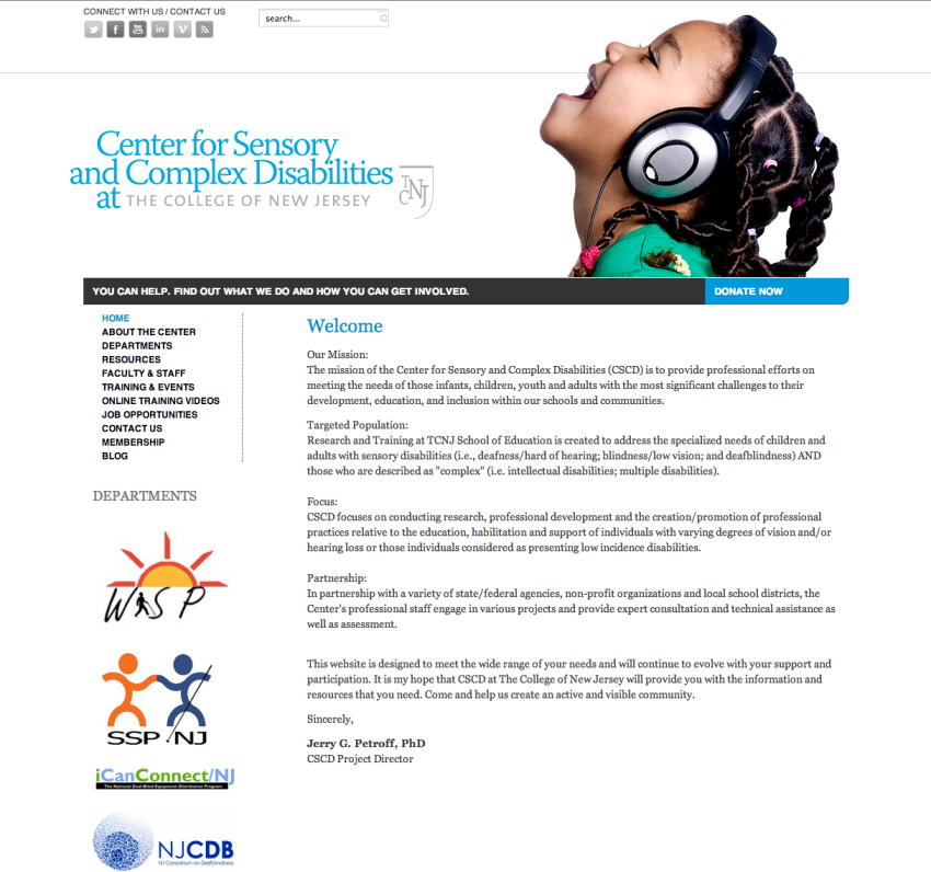 The Center for Sensory and Complex Disabilities: TCNJ